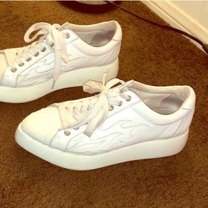 Jeffrey Campbell white hot rod sneakers